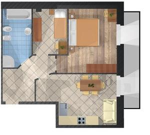 Půdorys ubytování Appartamenti Li Desja