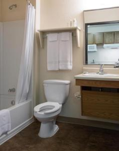 A bathroom at WoodSpring Suites Allentown