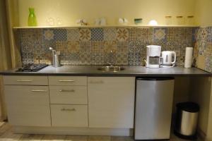 Een keuken of kitchenette bij B&B Blauw Blauw gevestigd in Villa Zomerland