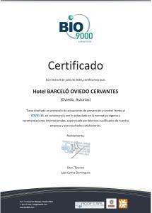 Een certificaat, prijs of ander document dat getoond wordt bij Barceló Oviedo Cervantes