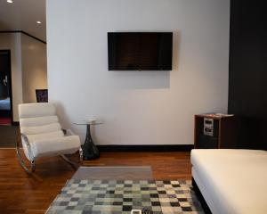 A seating area at Andromeda Suites