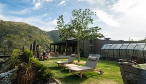 A porch or other outdoor area at Gibbston Valley Lodge and Spa
