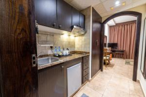 A kitchen or kitchenette at First Central Hotel Suites