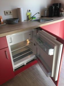 A kitchen or kitchenette at die Senfbude - wunderschöne 2-Raum-Apartments mit Stellplatz, ruhig und elegant!