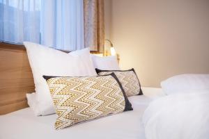 Ein Bett oder Betten in einem Zimmer der Unterkunft Ferienhof Schöne Aussicht