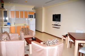 Espaço para refeições no apart-hotel