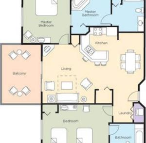 The floor plan of Wyndham Bonnet Creek Resort