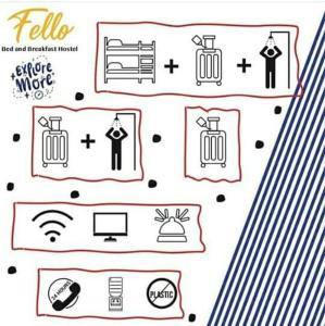 The floor plan of Fello B&B Hostel