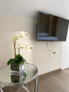 A television and/or entertainment center at Pensión MarViva