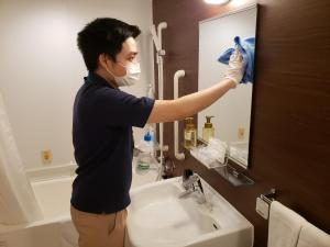A bathroom at Smile Hotel Premium Osaka Higashishinsaibashi