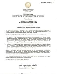 A certificate, award, sign, or other document on display at Acacia Garden Inn