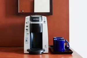 Coffee and tea-making facilities at Club Quarters Hotel in Philadelphia