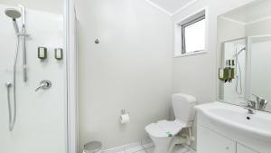 A bathroom at Arthur's Court Motor Lodge
