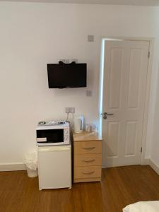 A television and/or entertainment center at HS2 Contractors Accommodation
