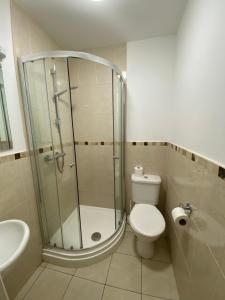 A bathroom at HS2 Contractors Accommodation