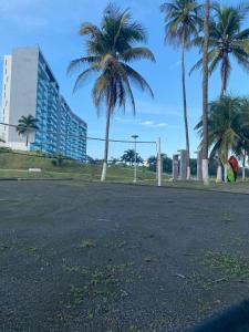 Jardín al aire libre en Apartamento en playa del caribe Colon Mariachiquita Balabeach BEACH FRONT