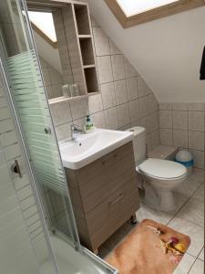 A bathroom at Németh Vendégház