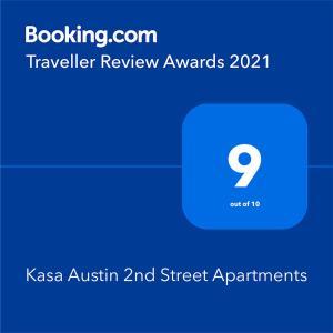 Sertifikat, nagrada, logo ili drugi dokument prikazan u objektu Kasa Austin 2nd Street Apartments