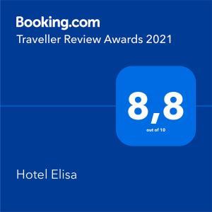Certificato, attestato, insegna o altro documento esposto da Hotel Elisa