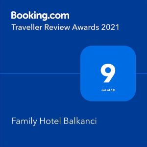 A certificate, award, sign or other document on display at Family Hotel Balkanci