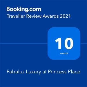 A certificate, award, sign, or other document on display at Fabuluz Luxury at Princess Place