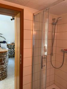 Ein Badezimmer in der Unterkunft Ferienwohnung Behling am Schufutsberg