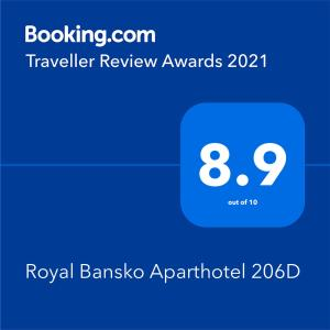 A certificate, award, sign, or other document on display at Royal Bansko Aparthotel 206D