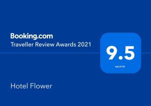 Ein Zertifikat, Auszeichnung, Logo oder anderes Dokument, das in der Unterkunft Hotel Flower ausgestellt ist