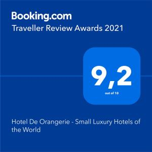 A certificate, award, sign, or other document on display at Hotel De Orangerie - Small Luxury Hotels of the World