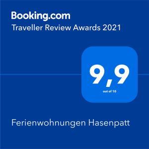 Een certificaat, prijs of ander document dat getoond wordt bij Ferienwohnungen Hasenpatt