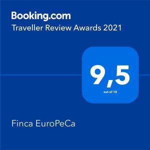Een certificaat, prijs of ander document dat getoond wordt bij Finca EuroPeCa