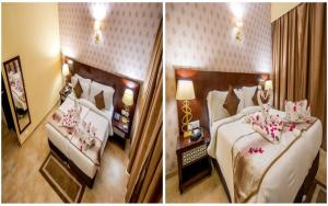 A bed or beds in a room at Raajsa Resort Kumbhalgarh