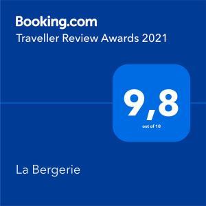 Een certificaat, prijs of ander document dat getoond wordt bij La Bergerie