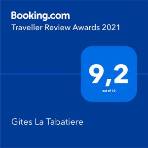 Een certificaat, prijs of ander document dat getoond wordt bij Gites La Tabatiere