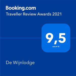 Certificat, récompense, panneau ou autre document affiché dans l'établissement De Wijnlodge
