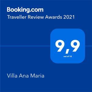 Certificat, récompense, panneau ou autre document affiché dans l'établissement Villa Ana Maria