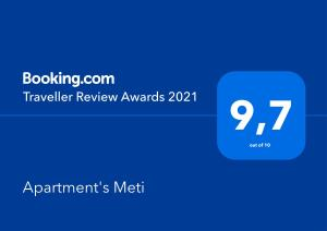 Сертифікат, нагорода, вивіска або інший документ, виставлений в Apartment's Meti