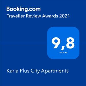 A certificate, award, sign, or other document on display at Karia Plus City Apartments