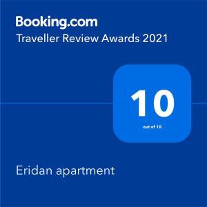 Certifikát, hodnocení, plakát nebo jiný dokument vystavený v ubytování Eridan apartment