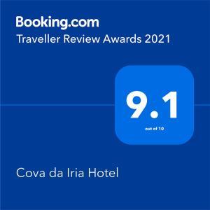 Um certificado, prémio, placa ou documento mostrado em Cova da Iria Hotel