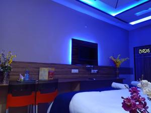 A television and/or entertainment centre at MAAN Hotel and Restaurant