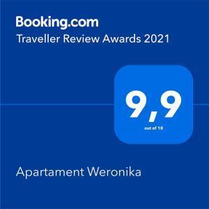 Certyfikat, podpis lub inny dokument wystawiony w obiekcie Apartament Weronika