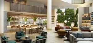 The lounge or bar area at Hilton Santa Monica
