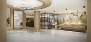 The lobby or reception area at Hilton Santa Monica