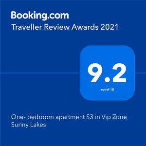 A certificate, award, sign, or other document on display at One- bedroom apartment S3 in Vip Zone Sunny Lakes