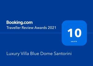 Πιστοποιητικό, βραβείο, πινακίδα ή έγγραφο που προβάλλεται στο Luxury Villa Blue Dome Santorini