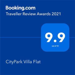 Certifikát, hodnocení, plakát nebo jiný dokument vystavený v ubytování CityPark Villa Flat
