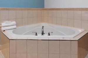 A bathroom at Days Inn by Wyndham Hamilton - Downtown