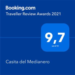 Certificado, premio, señal o documento que está expuesto en Casita del Medianero
