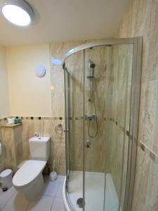 A bathroom at Buckingham Hotel